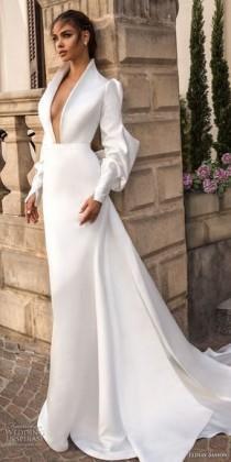 wedding photo - Elihav Sasson 2018 Capsule Bridal Long Mutton Sleeves Queen Anne Plunging V Neck Simple Clean Modern Sheath Wedding Dress Keyhole Back Long Train (…