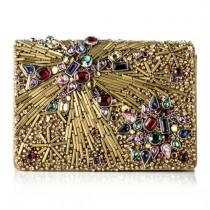 wedding photo - Marchesa Gold Beaded Evening Bag Clutch