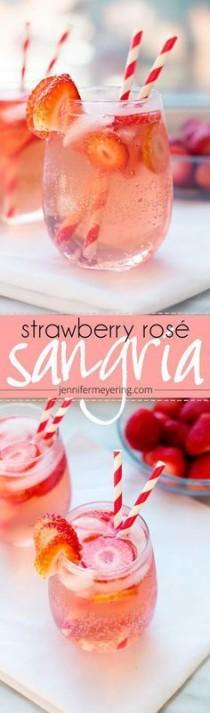 wedding photo - Refreshing Summer Signature Coktail Idea - Strawberry Rosé Sangria {JenniferMeyering.com}
