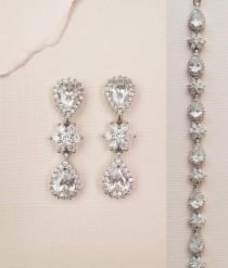 wedding photo - Crystal Bridal Earrings Wedding Jewelry Drop Earrings Bridal Bracelet Bridesmaid Jewelry Set Dangle Vintage Earrings CZ Teardrop Flower