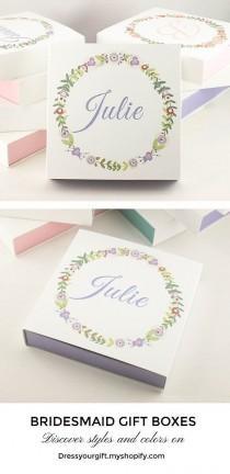 wedding photo - Purple Bridesmaid Gifts Personalized Bridesmaid Gift Boxes
