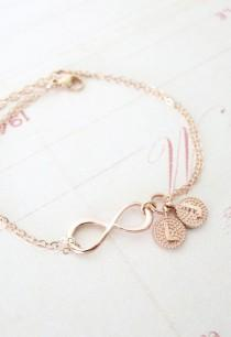 wedding photo - Simple Rose Gold Infinity Charm Comes On A Double Strands Rose Gold Filled Chain, With Two Initial Letter Dangle. Simple And Great Way To Tell Your…