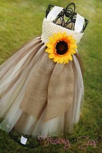wedding photo - Sunflower And Burlap Tutu Dress (brown And Ivory)- Flower Girl-VIntage