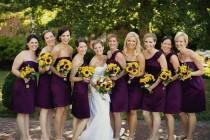 wedding photo - Plum Dresses And Sunflowers