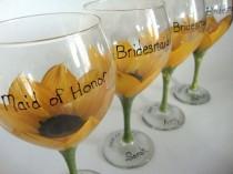 wedding photo - Bridesmaid Sunflower Wedding Glasses