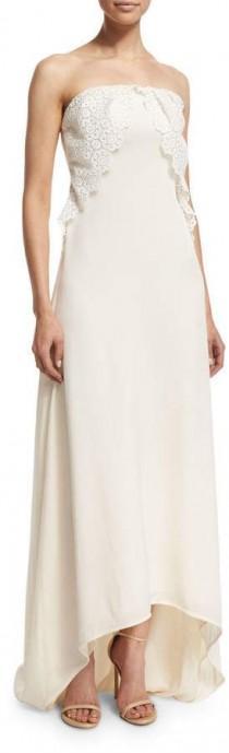 wedding photo - Self Portrait Isabella Strapless Lace-Trim Gown, Off White #bergdorfgoodman #ad