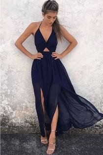 wedding photo - Outlet Dazzling Prom Dresses Chiffon A-Line Halter Floor-Length Backless Navy Blue Chiffon Prom Dress