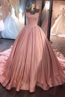 wedding photo - Customized Appealing Sleeveless Prom Dresses, Pink Sleeveless Prom Dresses, Long Prom Dresses, Pink Sweetheart Lace Long Ball Gown Prom Dress,sweet 16 Dress WF01G42-992