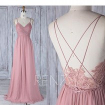 wedding photo - Bridesmaid Dress Dusty Rose Chiffon Wedding Dress,Spaghetti Straps V Neck Long Prom Dress,Illusion Lace Low Back A-line Evening Dress(H497A)