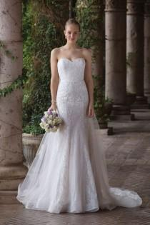 wedding photo - Sincerity Bridal - Style 4020: Chantilly Lace Fit And Flare Dress With Detachable Train