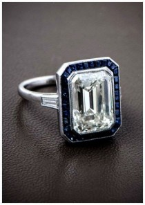 wedding photo - A Gorgeous Emerald Cut Diamond Surrounded By A Halo Of Ceylon Sapphires And Set In A Beautiful Platinum Mounting. Such A Wonderful Antique Engageme…