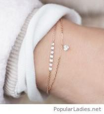 wedding photo - Lovely Gold Bracelets With A Little Heart