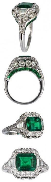 wedding photo - Elegant 2.26ct Colombian Emerald & Diamond Ring. Platinum Custom Made Colombian Emerald And Diamond Filagree Ring With Millgrain Edges. Consisting …