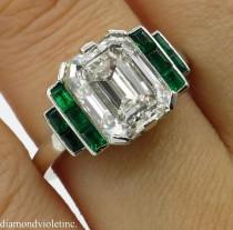 wedding photo - RESERVED... GIA 4.46 Antique Vintage Deco Emerald Cut Diamond