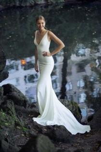 wedding photo - Ivory Beach Mermaid Wedding Dresses, Sexy Deep V Neck Simple Elegant Bridal Gowns From MissZhu Bridal