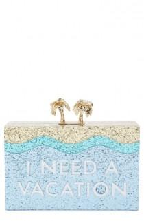 wedding photo - How Fun Is This Box Clutch By Kate Spade That Shines The Desire For A Vacation With Sparkles And Gold Details?
