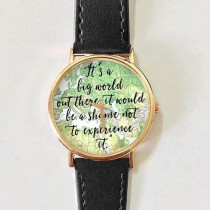 wedding photo - Travel Quotes Watch, Women Watches, Leather Watch, Men's Watch, Boyfriend Watch, Ladies Watch, Silver Gold Rose Watch, Unique, Gift