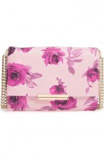 wedding photo - Vibrant Roses Add Eye-catching Sophistication To This Leather Shoulder Bag Suspended From A Gleaming Pull-through Chain Strap That Makes It Easy To…