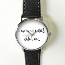 wedding photo - Quotes Watch, Women Watches, Men's Watch, Leather Watch, Vintage Style Watch,  I Can And I Will, Inspirational, Black White, Personalized