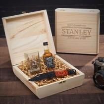 wedding photo - Stanford Shot Glass & Knife Custom Groomsmen Gift Box
