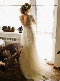 wedding photo - Lace Wedding Dress /Ivory Dress /Tulle Wedding Gown,champagne Wedding Dress ,2017,Open Back Dress ,nude Bridal Gown ,ivory Bridal Dress