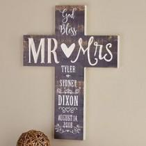 wedding photo - Personalized God Bless Mr. & Mrs. Wooden Cross