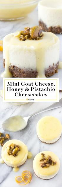 wedding photo - Goat Cheese, Honey & Pistachio Mini Cheesecakes With Meyer Lemon Cream