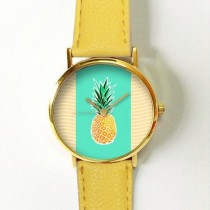 wedding photo - Pineapple Watch Watches For Women Leather  Ladies Jewelry Accessories Gifts Spring Fashion Personalized Unique Ananas Tropical Fruits Summer