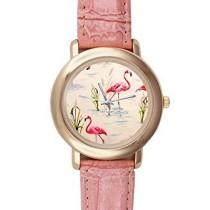 wedding photo - Special Design Beaituful Pink Flamingos, Love Flamingos Pink Ladies Leather Alloy High-grade Watch