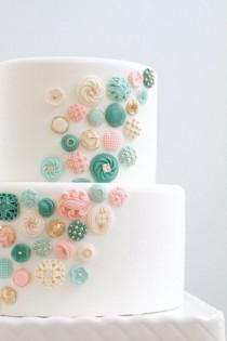 wedding photo - Edible Buttons Cake Decor. I Don't Think I Would Do This For A Wedding Cake But It's So Cute!