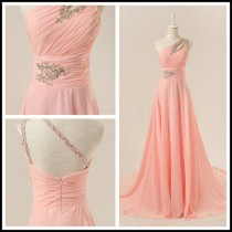 wedding photo - This Is Super Pretty, Just Needs To Be Shorter! OneShoulder Bridesmaid Dress Chiffon ALine Pink Long By JUMX, $145.00