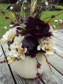 wedding photo - Large Elegant Purple Floral White Pumpkin By KreativelyKrafted