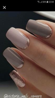 wedding photo - Love The Hint Of Rose Gold Glitter Around The Cuticles