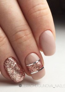 wedding photo - Peach Nude Nails With Rose Gold And Silver Accents.  #nails #nailart #sparklenails #naildesigns ― Re-pinned By Breanna L. ~Follow Me A…