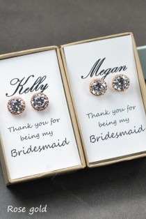 wedding photo - Bridesmaids EarringsPersonalized Bridesmaids By ThePeachMambo