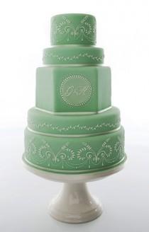wedding photo - Monogramed Mint Green Wedding Cake By Anna Tyler Cakes (www.annatylercakes.co.uk)