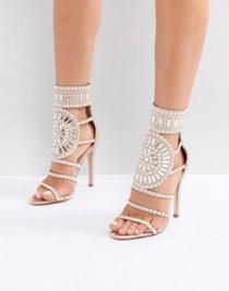 wedding photo - Public Desire Cleopatra Embellished Heeled Sandals In Rose Gold Satin