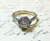 wedding photo - Georgiana Ring - Vintage Engagement Sterling Silver Swarovski CZ Floral Band Ring With Tiara Crown Like Bezel - Wedding