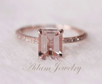 wedding photo - Holy Damn, This Is Beautiful... @Lisa Peters Pink Emerald Cut 6x8mm VS Morganite Ring SI/H By AdamJewelry, $330.00