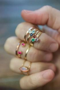 wedding photo - Solid Gold Honeycomb Ring, Precious Gemstone 14k Gold Birthstone Tri Gem 3 Stone Stacking Ring Triangle Modern Trending Mommy Jewelry Mom