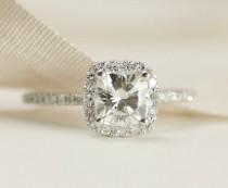 wedding photo - CERTIFIED - Cushion Moissanite & Diamonds Ring 14K White Gold