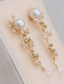 wedding photo - Freshwater Pearl Stud Earrings With Hand Wired Rhinestone And Pearl Cascade Drop, Statement Wedding Earrings, Bridal Earrings
