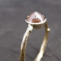 wedding photo - Peach Diamond Twig Ring In Yellow Gold
