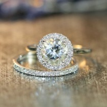 wedding photo - This Halo Diamond Wedding Ring Set Showcases A Halo Engagement Ring With A 8x8mm Round Shaped Natural White Topaz Cr…