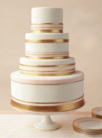 wedding photo - Very Pretty, Simple Cake. It Even Matches The Dishes!