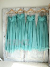 wedding photo - Bridesmaid Dress Medium Teal Chiffon Dress,Wedding Dress,Ruched Sweetheart Prom Dress,Strapless Party Dress,Long A-line Maxi Dress(B010E)