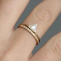 wedding photo - Wedding Ring Set, Triangle Cut Diamond Ring Set, Stacking Rings Set, Diamond Ring Set, Diamond Engagement Ring Set, Eternity Band Set