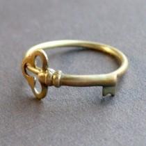 wedding photo - Little Skeleton Key Ring In Raw Brass, Size 5, READY TO SHIP