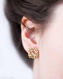 wedding photo - Monogram Earrings - Monogram Stud Earrings - Personalized Earrings - Custom Earrings - Personalize Initials Earrings - Christmas Gift