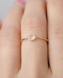 wedding photo - Dainty Moonstone Ring, Sterling Silver. Yellow Gold Vermeil, Dainty Minimalist Ring, Hand Made Jewelry, Birthstone Gift, Lunai, RNG036MOO
